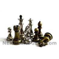 "Jenell Metal Chess Pieces in Bronze and Silver with Extra Queens - 4.5"" King - BOARD NOT INCLUDED"