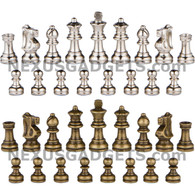 "Ozark Metal Chess Pieces in Bronze and Silver with Extra Queens - 2.5"" King - BOARD NOT INCLUDED"