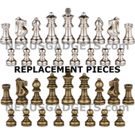 "Ozark Metal Chess Pieces in Bronze and Silver with Extra Queens - 2.5"" King - REPLACEMENT CHESS PIECES ONLY"