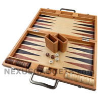 Duko Backgammon Wood Suitcase Set, Large 17 Inch