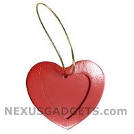 Brid Red Heart Wood Photo Christmas Holiday Ornament, SET OF 3