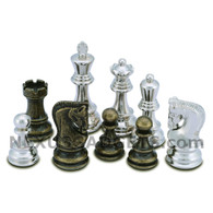 Lopa Silver and Bronze Metal Chess Pieces with Extra Queens – Pieces Only – No Board – 3.75 Inch King