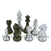 Frem Silver and Bronze Metal Chess Pieces with Extra Queens – Pieces Only – No Board – 3.75 Inch King