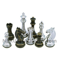 Edbo Silver and Bronze Metal Chess Pieces with Extra Queens – Pieces Only – No Board – 3.75 Inch King
