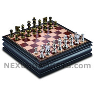 Bala Chess in Wood Cabinet with Metallic Pieces, 12 Inch