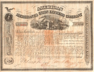American Merchants Union Express Company Stock Certificate 1869 - William Fargo  - issue with foxing