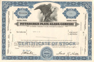 Pittsburgh Plate Glass Company stock certificate 1960's (Pennsylvania) - blue