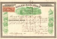 Salem Railroad stock certificate 1863 (New Jersey)