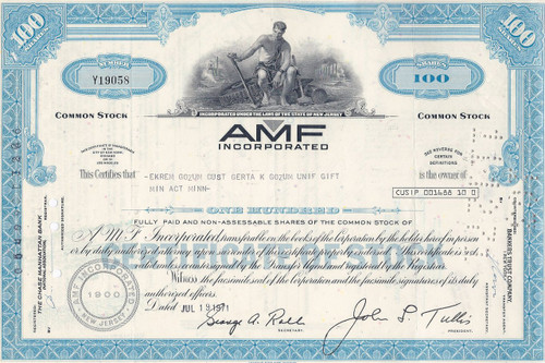 AMF Incorporated stock certificate 1971