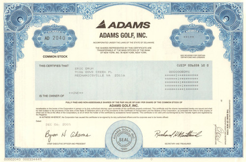 Adams Golf, Inc. stock certificate 2005 (golf clubs)