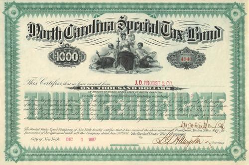 North Carolina Special Tax bond 1887