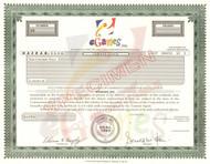 eGames Inc.  stock certificate specimen 1996 (internet games)