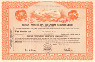 Rocky Mountain Uranium Corporation stock certificate 1954 (mining)
