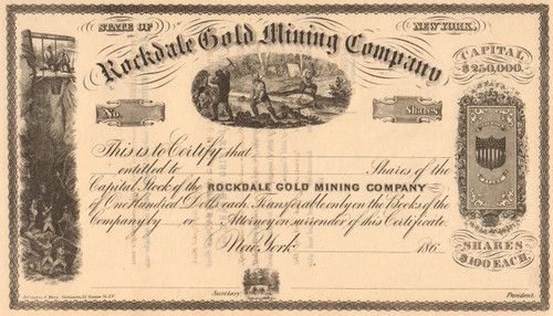 Rockdale Gold Company stock certificate circa 1864 (New York)