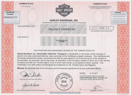 Harley-Davidson stock certificate