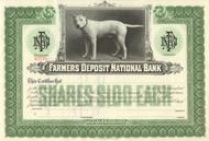 Farmers Deposit National Bank stock certificate circa 1919 (Pittsburgh)