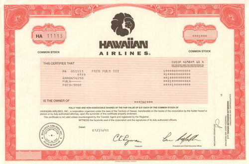 Hawaiian Airlines stock certificate 2001