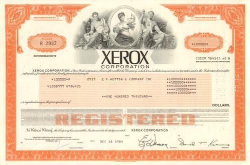 Xerox Corporation $100,000 bond certificate 1984