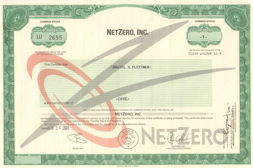 NetZero Inc. stock certificate 2001