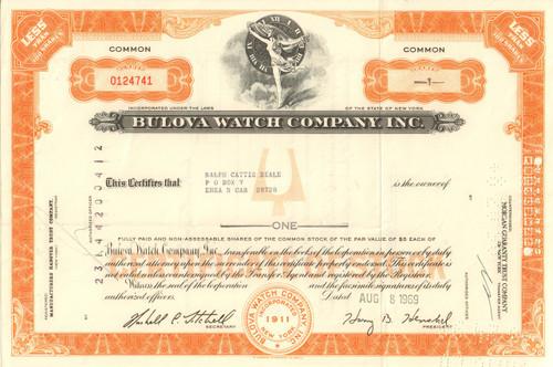 Bulova Watch Company Inc. stock certificate 1969