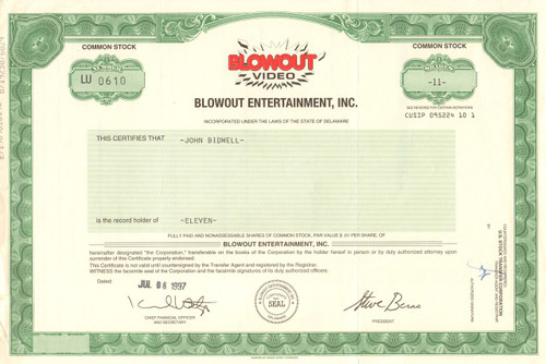 Blowout Entertainment Inc. stock certificate 1997 (video rental bust)