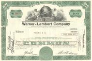 Warner-Lambert Company stock certificate 1970's (pharmaceuticals)