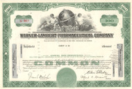 Warner-Lambert Pharmaceutical Company stock certificate 1960's (drug maker)