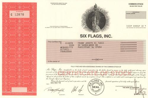 Six Flags Inc. stock certificate 2010 (amusement parks)