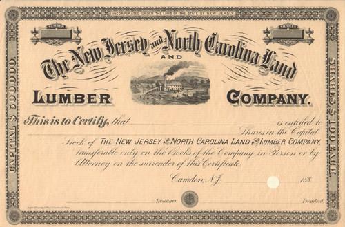 New Jersey and North Carolina Land and Lumber Company stock certificate circa 1887