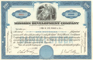 Mission Development Company stock certificate 1950's (J. Paul Getty) - blue