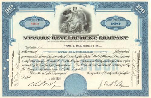Mission Development Company stock certificate 1950's (J. Paul Getty) - blue