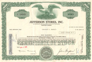 Jefferson Stores stock certificate endorsed by Bernard L Madoff