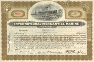 International Mercantile Marine Company stock certificate (owned the Titanic) - olive