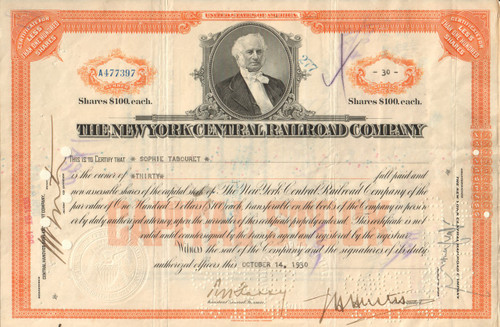 New York Central Railroad stock certificate 1930's - orange version