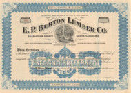 E. P. Burton Lumber Co.  stock certificate circa 1913  (timber)