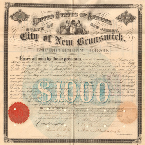 City of New Brunswick $1000 bond certificate 1877  (New Jersey)