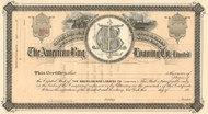 American Bag Loaning Company stock certificate circa 1883  (New York)
