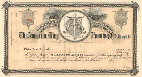 American Bag Loaning Company stock certificate circa 1883  (New York)