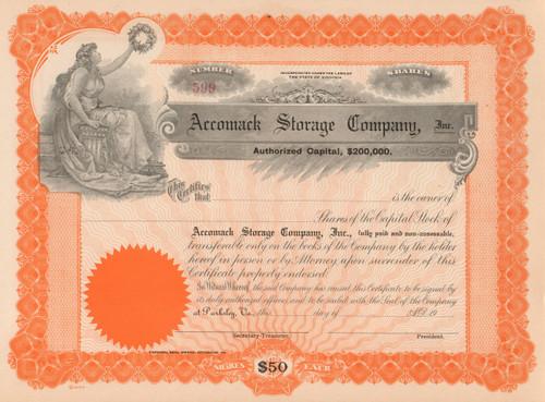 Accomack Storage Company stock certificate circa 1917 (Virginia)