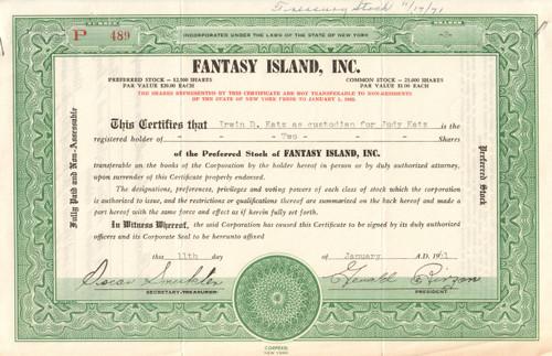 Fantasy Island Inc. stock certificate 1961 (New York amusement park)
