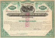 Jersey Shore, Pine Creek, and Buffalo Railway Company  stock certificate circa 1882.