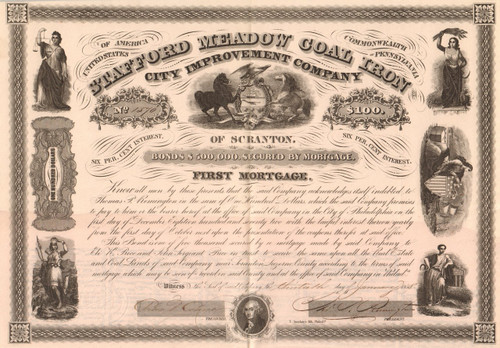 Stafford Meadow Coal Iron City Improvement Company bond 1858 (Scranton PA)