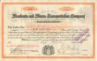 Merchants and Miners Transportation Company stock certificate 1916 (Maryland)
