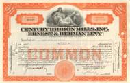 Century Ribbon Mills, Inc. stock certificate 1930's (New York)