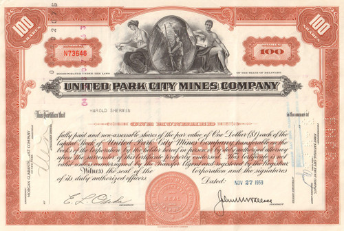 United Park City Mines Company stock certificate 1950's  (Utah mining) - brown
