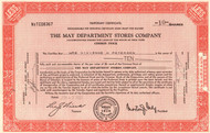 May Department Stores Company stock certificate 1940-1950's (retail shopping)  -red