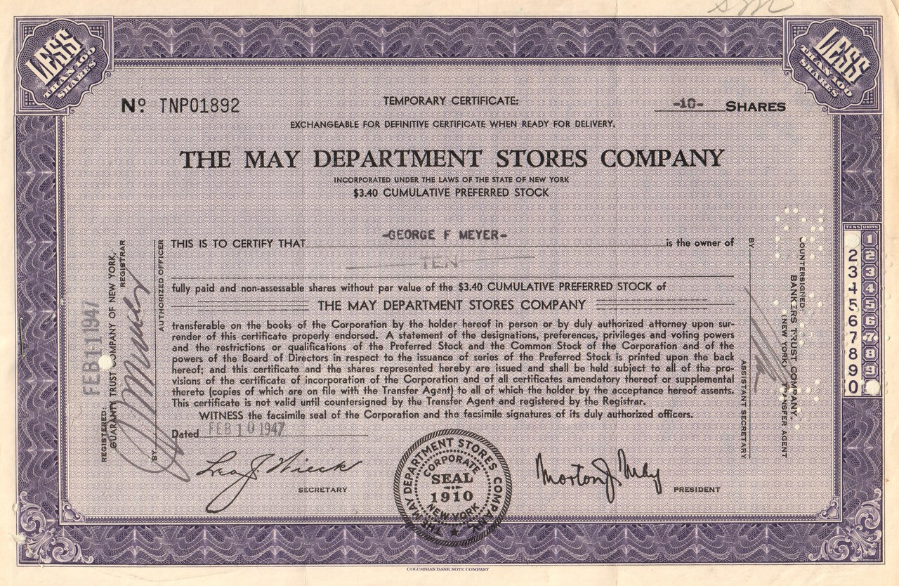 a0e681cc May Department Stores Company stock certificate 1940-1950's (retail  shopping) - purple