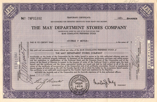 May Department Stores Company stock certificate 1940-1950's (retail shopping) - purple