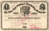 Alden Typesetting and Distribution Machine Co. stock certificate 1876 (New York)