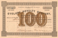 Cyclone Novelty Company stock certificate 1887 (Illinois)